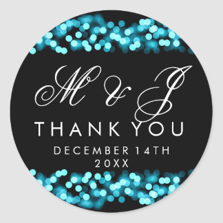 Wedding Favor Tag Turquoise Hollywood Glam Classic Round Sticker