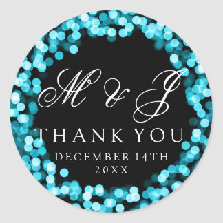 Wedding Favor Tag Turquoise Sparkly Lights Classic Round Sticker