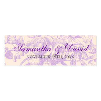 Wedding Favor Tag Vintage Floral Decor Purple Double-Sided Mini Business Cards (Pack Of 20)