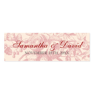 Wedding Favor Tag Vintage Floral Decor Red Double-Sided Mini Business Cards (Pack Of 20)
