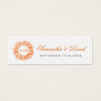 Wedding Favor Tag Vintage Floral Monogram Orange