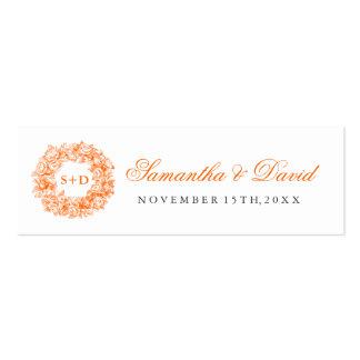 Wedding Favor Tag Vintage Floral Monogram Orange Double-Sided Mini Business Cards (Pack Of 20)