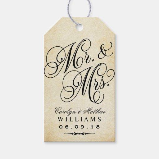 Vintage Wedding Gift Tags : Wedding Favor Tag Vintage Monogram Pack Of Gift Tags