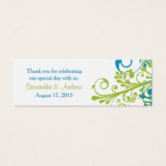 Wedding Favor Tags Abstract Floral Blue Green at Zazzle