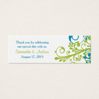Wedding Favor Tags Abstract Floral Blue Green