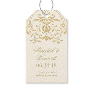 Wedding Favor Tags | Gold Vintage Glamour