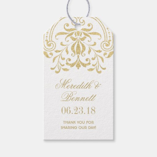 Vintage Wedding Gift Tags : Wedding Favor Tags Gold Vintage Glamour Pack Of Gift Tags Zazzle