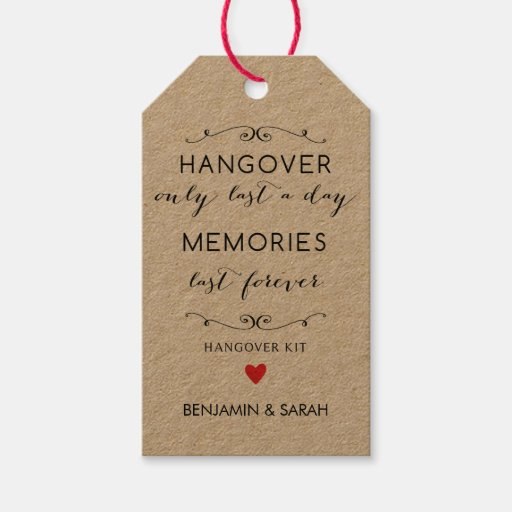 Wedding Favor Tag Kit : Wedding Favor Tags / Hangover Kit Tags Zazzle
