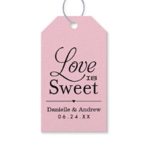 Wedding Favor Tags | Love is Sweet - Pink Black
