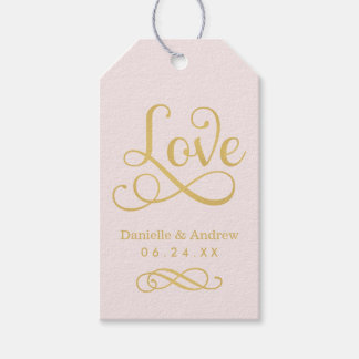 Wedding Favor Tags | Love Script Gold and Pink Pack Of Gift Tags
