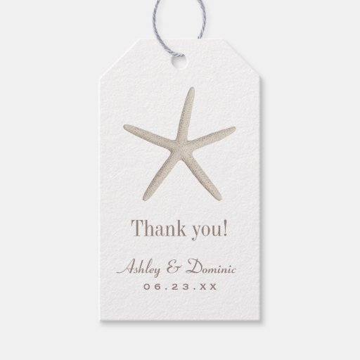 Wedding Favor Tags Neutral Starfish Pack Of Gift Tags