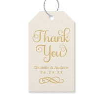 Wedding Favor Tags | Thank You Script Gold Ivory