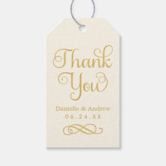 Wedding Favor Tags | Thank You Script Gold Ivory Pack Of Gift Tags