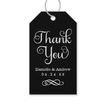 Wedding Favor Tags | Thank You Script in Black