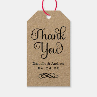 Wedding Favor Tags | Thank You Script in Kraft Pack Of Gift Tags