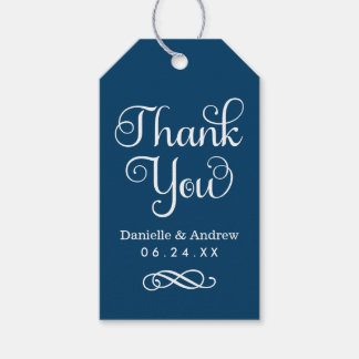 Wedding Favor Tags | Thank You Script in Navy Pack Of Gift Tags