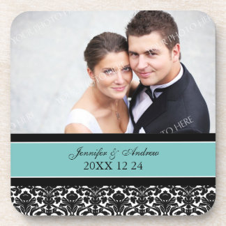 Wedding Favor Teal Damask Photo Coasters