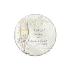 Wedding Favor Thank You Gold Cream Pearl Floral Jelly Belly Tin at Zazzle