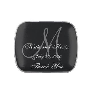 Wedding Favor Thank You Grey Black Monogram Names Jelly Belly Tins