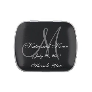 Wedding Favor Thank You Grey Black Monogram Names Jelly Belly Tins