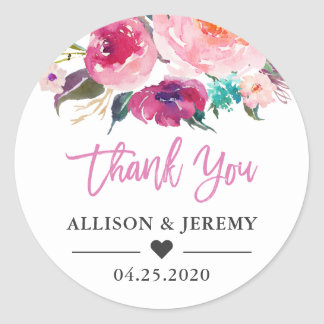 Wedding Favor Thank You Modern Watercolor Floral Classic Round Sticker