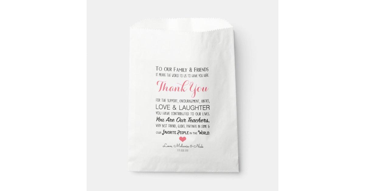 Wedding Favor Treat Thank You Message Pink 3605 Favor Bag Zazzle