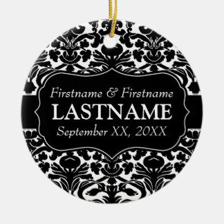 Wedding Favors - Black and White Damask Ceramic Ornament