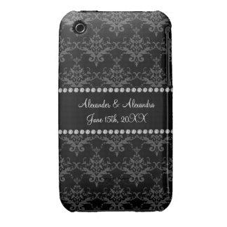 Wedding favors Black damask Case-Mate iPhone 3 Case