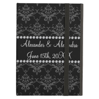 Wedding favors Black damask Case For iPad Air