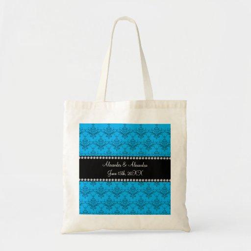 Wedding favors Blue damask Canvas Bags