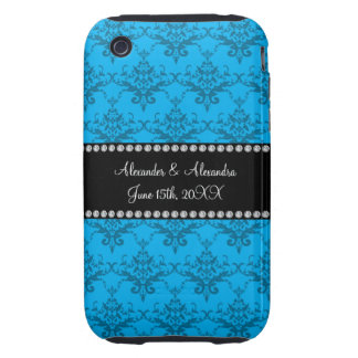 Wedding favors Blue damask Tough iPhone 3 Covers