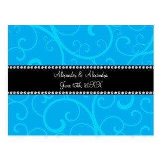 Wedding favors blue swirls post cards