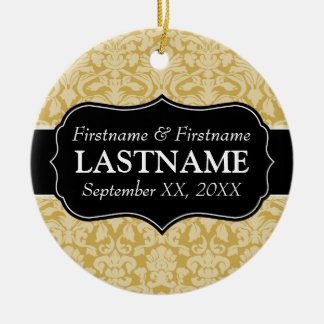 Wedding Favors - Damask Gold and Black Double-Sided Ceramic Round Christmas Ornament