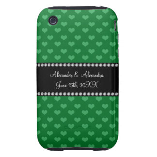 Wedding favors green hearts iPhone 3 tough cover