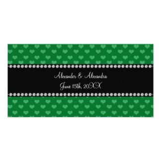Wedding favors green hearts customized photo card