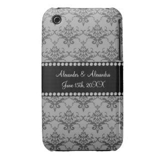 Wedding favors Grey damask iPhone 3 Case-Mate Case