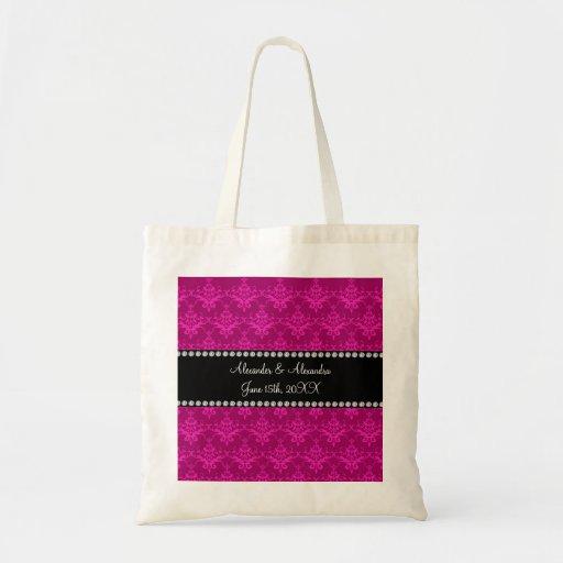 Wedding favors Magenta pink damask Tote Bag