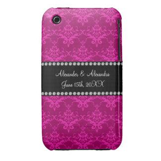 Wedding favors Magenta pink damask iPhone 3 Cover
