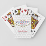"Wedding Favors | Married in Las Vegas Playing Cards<br><div class=""desc"">Custom &quot;Married in Fabulous Las Vegas&quot; wedding favor playing cards feature a monogram of the bride and groom&#39;s names and wedding dates and heart patterned background. Black,  red,  blue,  yellow,  and gray design colors.</div>"
