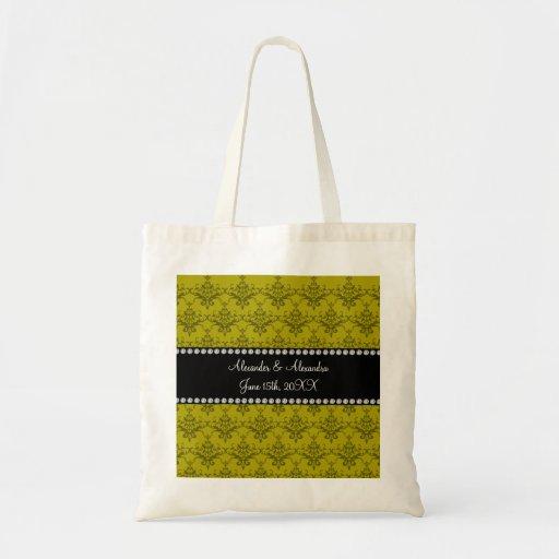 Wedding favors Mustard yellow damask Bags