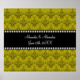 Wedding favors Mustard yellow damask Print