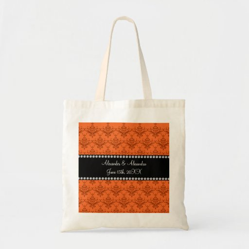Wedding favors Orange damask Canvas Bag