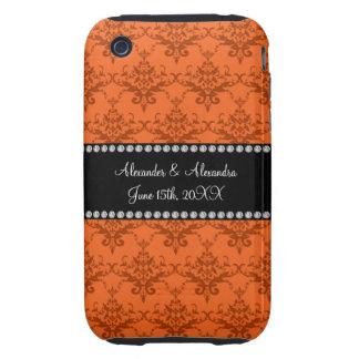 Wedding favors Orange damask Tough iPhone 3 Cover
