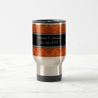 Wedding favors Orange damask Travel Mug