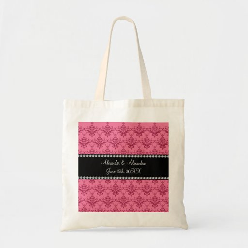 Wedding favors Pink damask Bags