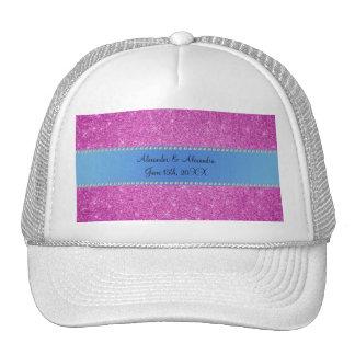 Wedding favors pink glitter blue stripe hat