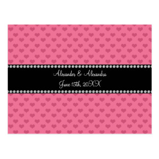 Wedding favors pink hearts post card