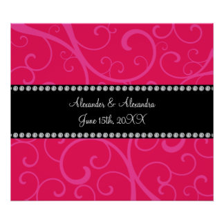 Wedding favors pink swirls poster