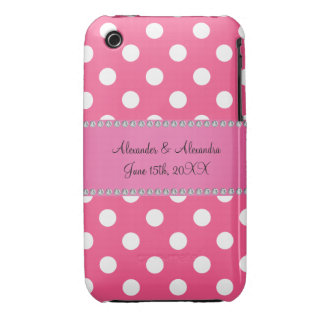Wedding favors pink white polka dots iPhone 3 cases