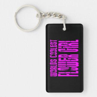 Wedding Favors : Pink Worlds Coolest Flower Girl Single-Sided Rectangular Acrylic Keychain